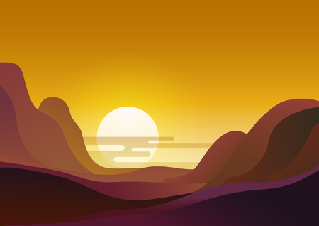 Sunset in desert - vector illustration natural background. Evening landscape with sun sets behind the mountains and yellow sky.