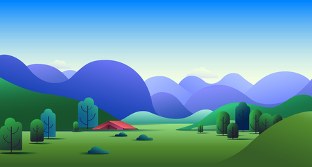 Natural landscape with green hills, trees, mountains and camping tent on meadow - vector illustration background. Archivio Fotografico - 121329194