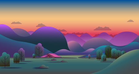 Natural evening landscape with green hills, trees, mountains and camping tent on meadow - vector illustration background.