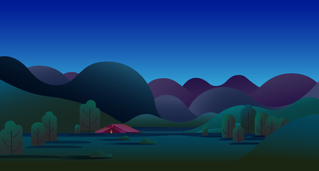 Natural night landscape with green hills, trees, mountains and camping tent on meadow - vector illustration background. Archivio Fotografico - 121329196