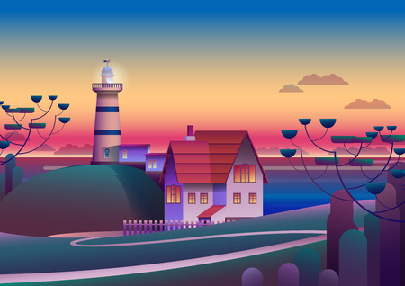 Lighthouse on Shore with evening Sea on background - Flat Vector Illustration
