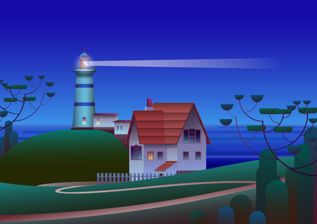 Lighthouse on Shore with night Sea on background - Flat Vector Illustration