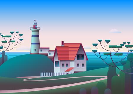 Faro en la orilla con el mar de la mañana en el fondo - ilustración vectorial plana