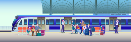 Boarding Train at the Railway Station - Flat Vector Illustration Background. People get on train from platform.