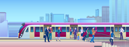 Boarding Train at the Railway Station with city on background Flat Vector Illustration. People get on train from platform. Ilustracja