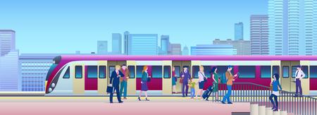Train d'embarquement à la gare avec la ville sur fond plat Vector Illustration. Les gens montent dans le train depuis le quai.