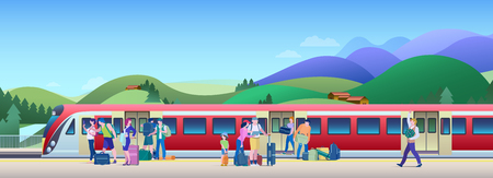 Boarding Train at the Railway Station with hills on background Flat Vector Illustration. People get on train from platform.