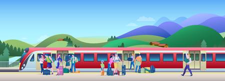 Treno d'imbarco alla stazione ferroviaria con le colline sull'illustrazione piana di vettore del fondo. La gente sale sul treno dal binario.