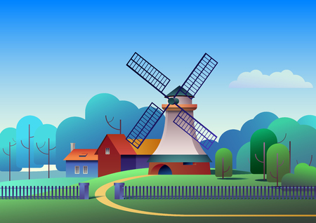 Countryside landscape with mill and farm on meadow, trees and forest on background - flat vector illustration.