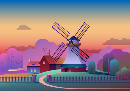 Countryside evening landscape with mill and farm on meadow, trees and forest on background - flat vector illustration. Ilustração
