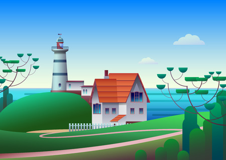 Lighthouse on Shore with Sea and blue sky on background - Flat Vector Illustration Illustration