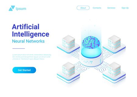Artificial Intelligence Neural Network future technology concept isometric flat vector design. Digital Brain connected with servers computing systems. AI, ANN illustration.