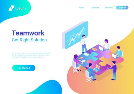 Teamwork Business People sitting at table in shape of puzzle. Finance Success, well-coordinated work in team, successful collaboration and right solution concept 3d isometric flat vector illustration. Vektorgrafik