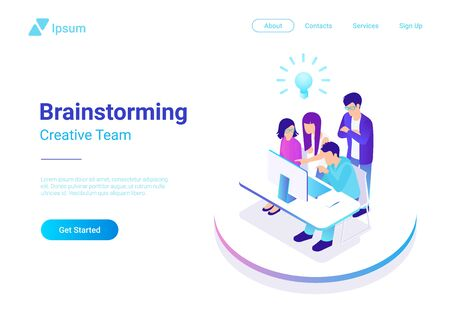 Brainstorming ideas Teamwork isometric flat vector illustration Иллюстрация
