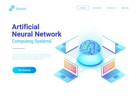 人工知能脳アイソメトリック概念ベクトル図  イラスト・ベクター素材