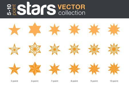 Insieme di vettore di sagome di forme di stelle. Stelle a 5, 6, 7, 8, 9, 10 punte in tre stili.