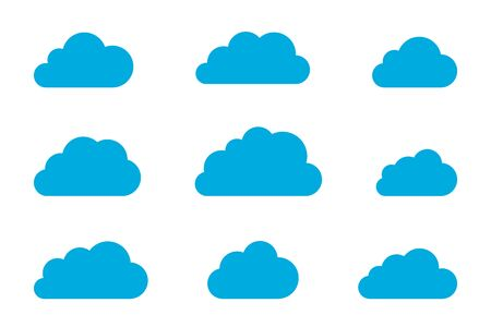 Cloud shapes design vector templates set. Data Storage network technology icons pack.