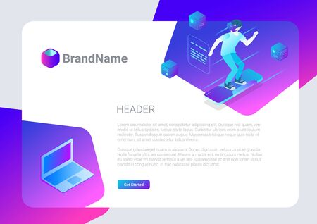 Banner Poster Vector Design Template Hitech style.  Isometric Virtual Reality illustration.