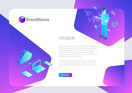 Banner Poster Vector Design Template Hitech style.  Isometric Cloud computing storage VR illustration. 向量圖像