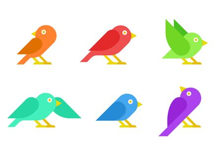 Flat Colorful Sparrow Birds vector collection 向量圖像
