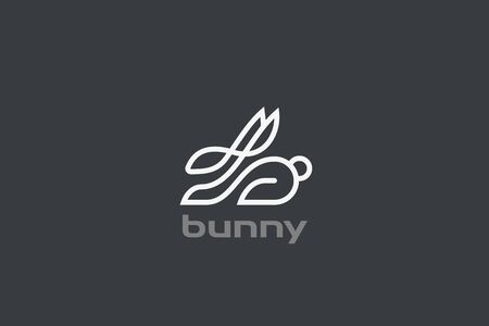 Rabbit Hare Logo design vector template Linear style. Elegant Easter symbol Logotype concept icon.