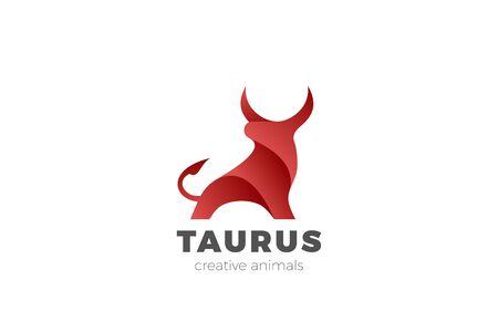 Bull Taurus Bison Buffalo Logo design vector template. Beef Meat Steak House Restaurant Logotype concept icon. 일러스트