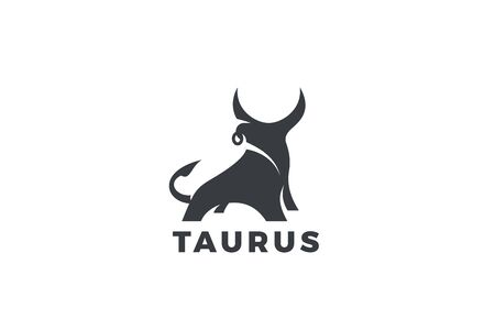 Bull Taurus Bison Buffalo Logo design vector template. Beef Meat Steak House Restaurant Logotype concept icon. 向量圖像