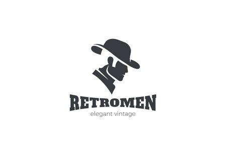 Elegant Gentleman in Hat Logo design silhouette vector template Negative space style. Иллюстрация