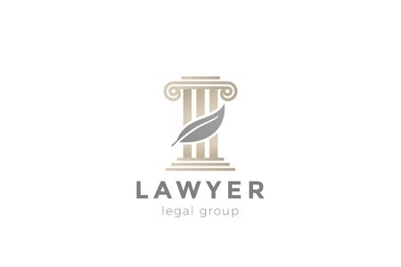 Pillar and Feather Logo for Lawyer Advocate Legal company vector design template.