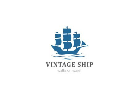 Ship Boat silhouette Vintage Logo design vector template.  イラスト・ベクター素材