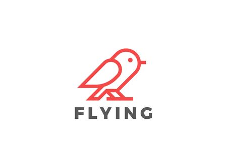 Bird Logo abstract vector design Linear style. Dove Sparrow sitting Logotype icon. 向量圖像