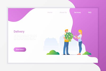 Delivery Boy gives Flowers to Woman Flat Vector Illustration design concept.