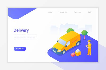 Delivery Van and Man with Boxes Isometric Flat Vector Illustration design concept. 向量圖像