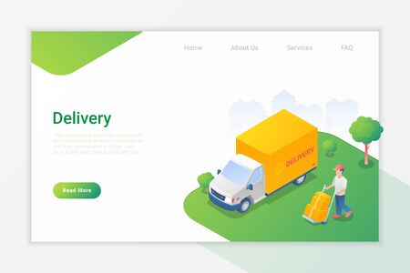 Delivery Truck and Man with Boxes Isometric Flat Vector Illustration design concept.