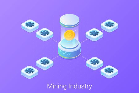 Mining Bitcoin Isometric Flat Vector Illustration. Blockchain cryptocurrency concept.