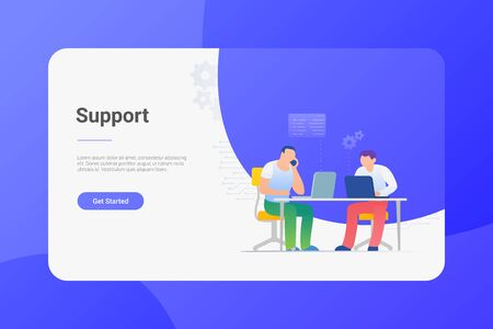 Online Support Flat vector illustration. Men sitting at Table working chatting with Laptop Notebook.