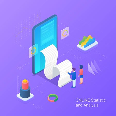 Analyse statistics data online services Isometric Flat vector illustration. Man and Woman looking on Bill from Mobile phone.