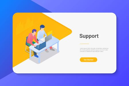 People Men sitting at Table with Laptop Notebook Isometric flat illustration. Online support concept.