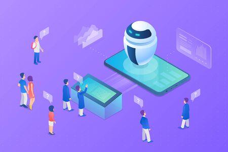 Robot chat bot rozmawia z klientami Izometryczne płaskie wektor ilustracja. Technologia sieci neuronowych sztucznej inteligencji