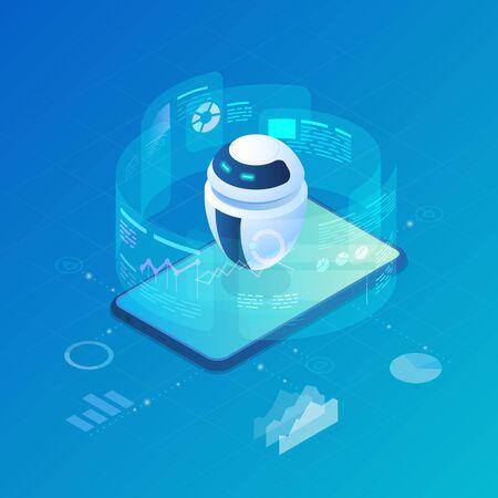 Isometric Robot Bot operando la ilustración de vector de interfaz virtual de HUD. Inteligencia Artificial, Tecnología e Ingeniería de Procesos de Automatización.
