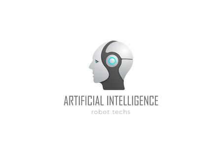 Robot Head Artificial Intelligence Logo design vector template. Cyborg Android Robotics concept icon. Foto de archivo - 129818430