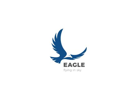Eagle Flying Soaring Logo abstract design vector template Negative space style. Falcon Hawk Logotype concept icon.