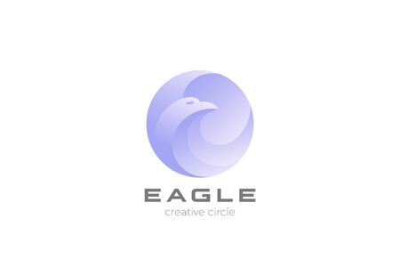 Eagle Logo circle abstract design vector template. Falcon Hawk Logotype concept icon.