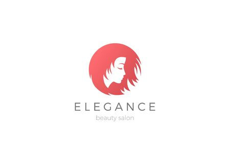Woman Girl Logo abstract circle shape design vector template Negative space style. Beauty Hairdresser Cosmetics Salon Logotype concept icon.