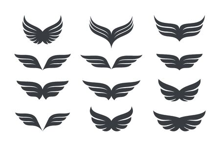 Wings vector Collection. Eagle bird heraldic flying Falcon Phoenix Hawk. 向量圖像