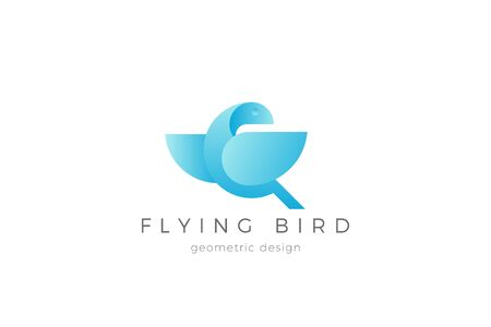 Flying Bird Wings Logo abstract geometric design vector template.