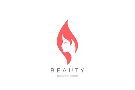Woman Girl silhouette abstract Logo design for Beauty Fashion salon vector template. Illustration