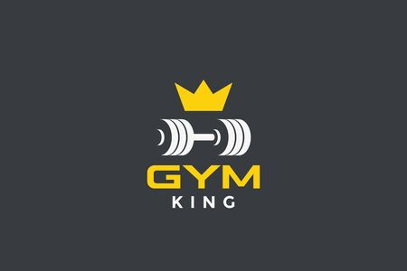 Dumbbell barbell with crown Logo design for GYM Fitness Sport club vector design template.