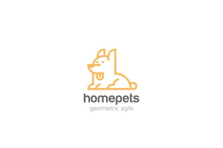 Dog Home pets Logo abstract design vector template Linear style.