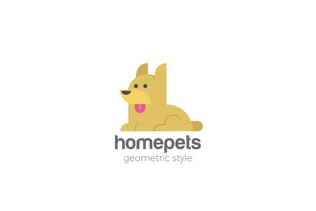 Dog Home pets Logo abstract design vector template Flat style.